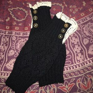 Accessories - NWOT black (with lace and buttons) knit boot cuffs